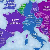 El año y el método empleado en las últimas ejecuciones de cada país de Europa, en un mapa