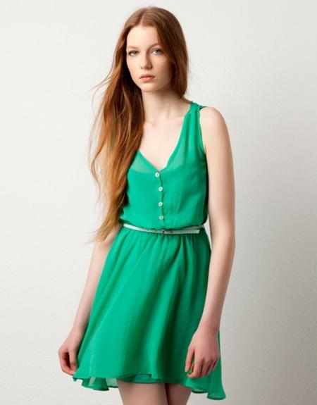 vestido verde pull bear