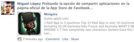 Apple integra su App Store en Facebook