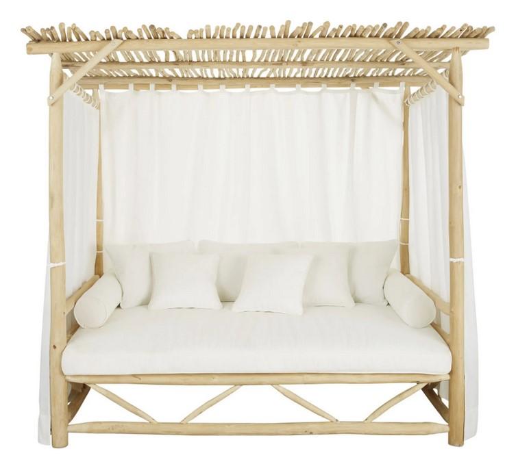 CRUSOÉ - Cama con dosel de exterior de ramas de teca blanqueadas y tela color crudo