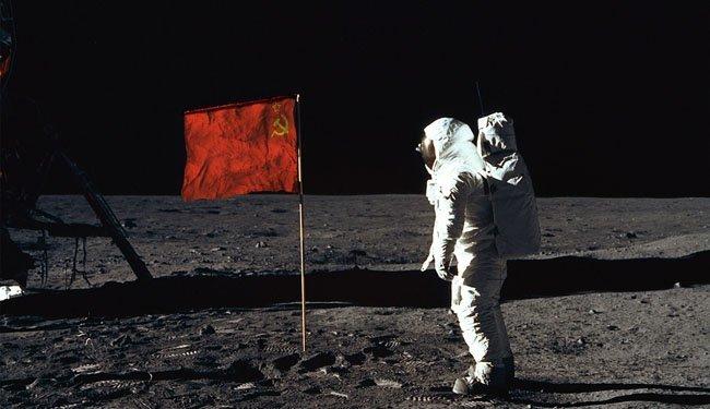 Fake de la bandera rusa en la Luna