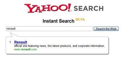 Yahoo lanza su Instant Search