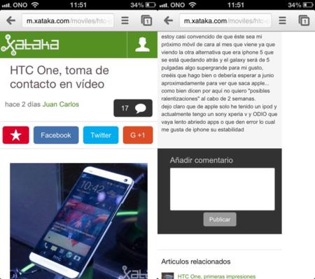 Nueva versión móvil Xataka con comentarios y mejor navegación