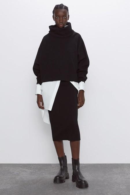 Falda De Punto Con Cintura Elastica Zara