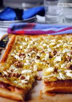 Hojaldre de puerro y queso feta al limón. Receta fácil y rápida