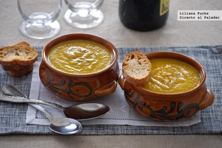 Crema de calabacín y zanahoria al curry