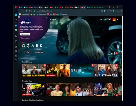 Opera le ha estado mostrando a algunos usuarios publicidad de Disney+ encima de la web de Netflix