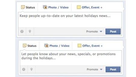 Facebook quiere que publiquemos ofertas especiales por Navidad