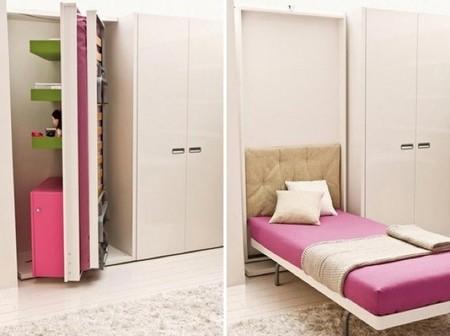 camas secretas ocultas en muebles con paneles giratorios y