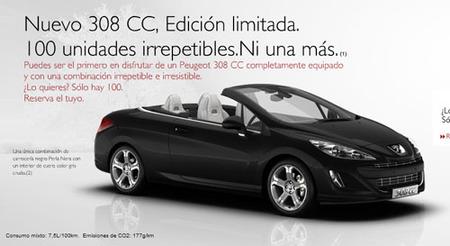 Peugeot 308 CC Edición Limitada, las 100 primeras unidades del mercado