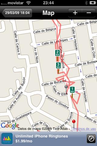 mapa de trayecto en Runkeeper