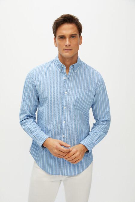 Camisa Seersucker Rayas Algodon Organico