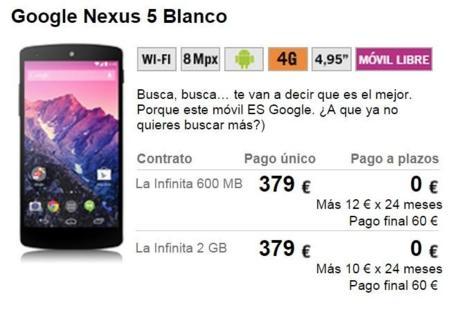 Precios actuales del Nexus 5 con Yoigo