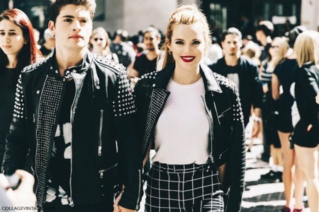New York Fashion Week Spring Summer 2016 Street Style Jessica Minkoff Diesel Black And Gold Leather Jackets 790x527