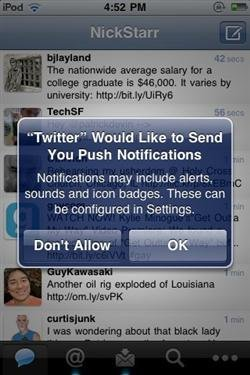 Twitter hacia el tiempo real, aparecen notificaciones push en Twitter para el iPhone