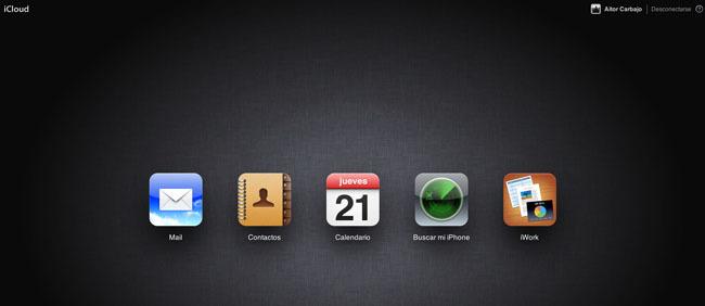 Página de inicio de iCloud