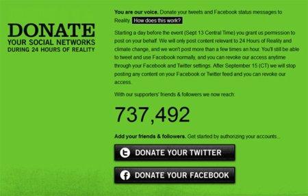 Al Gore pide que la gente done sus cuentas en las redes sociales durante un día por una buena causa