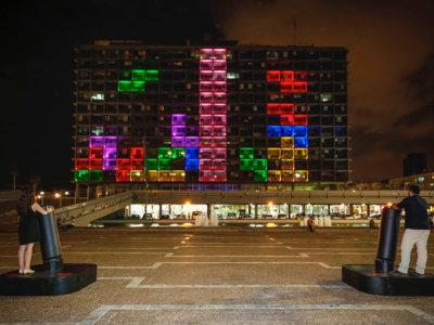 Los torneos públicos de Tetris llegan a Tel Aviv gracias a esta increíble pantalla gigante