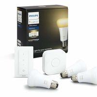Bombillas inteligentes de oferta en Amazon: kit de tres bombillas Led Philips Hue White Ambiance con puente y mando por 78 euros