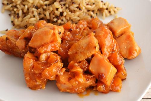 Pollo con chabacano, tamarindo y chipotle. Receta