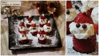 Santa Claus de fresas con nata. Receta de Navidad