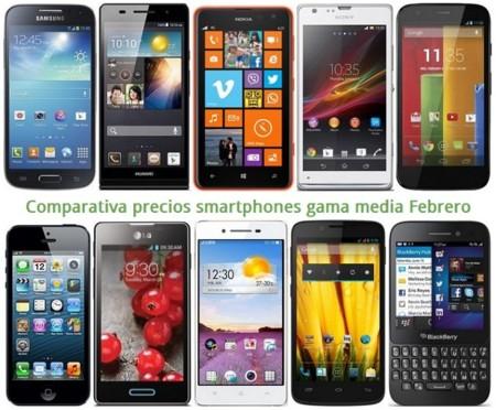 Comparativa precios Moto G, Lumia 625, Huawei P6, Galaxy S4 mini, iPhone 4S, Blackberry Q5 y otros gama media en Febrero