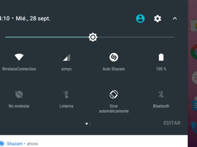 Shazam se integra en los ajustes rápidos de Android 7.0 Nougat