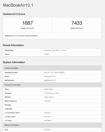 Apple Macbook Air Chip Apple Silicon M1 Prueba Benchmark Geekbench 5