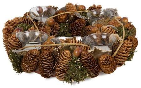 Portavelas corona de Navidad