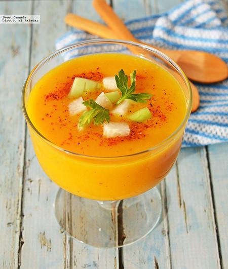 Gazpacho de mango y pimiento. Receta