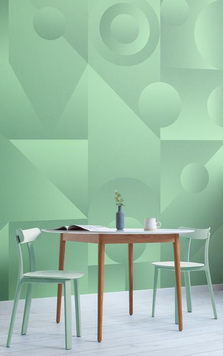Neo Mint Papel Pintado Degradado Con Formas Geometricas Verde Menta Lifestyle