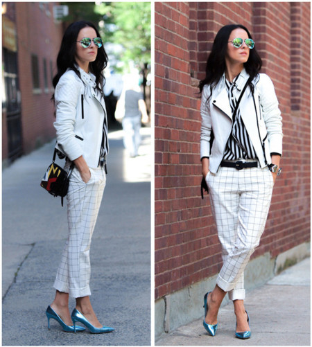 Look chaqueta cuero blanca
