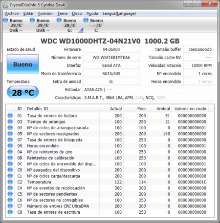 WD Velociraptor 1TB WD1000DHTZ CrystalDiskInfo
