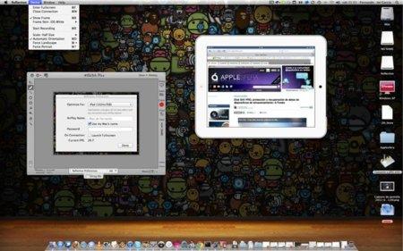 Imagen escalada del iPad al 50% y opciones de Reflection en pantalla
