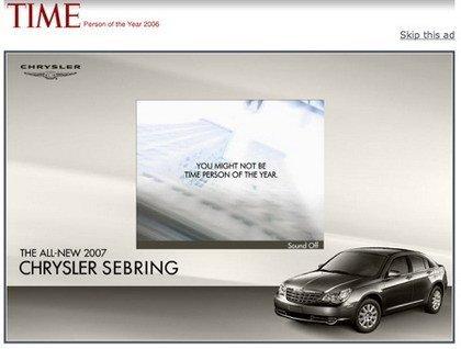 Chrysler dice que tú no eres la persona del año, aunque Time afirme lo contrario