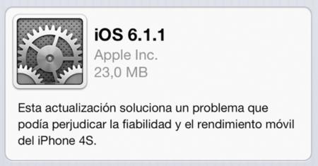 Apple lanza iOS 6.1.1 sólo para los iPhone 4S que soluciona sus problemas de conectividad
