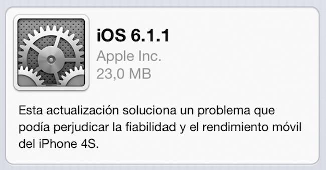 iOS 6.1.1 iPhone 4S problemas batería