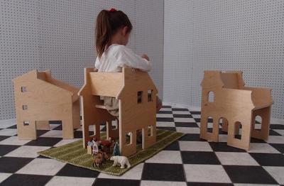 Casa de muñecas y silla todo en uno