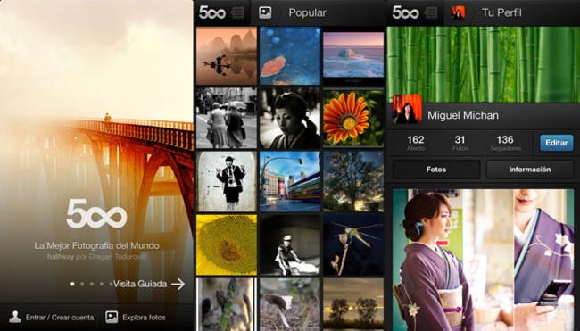 500px en iPhone