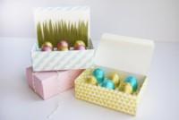 Preciosa caja DIY para regalar pequeños huevos de chocolate en Pascua