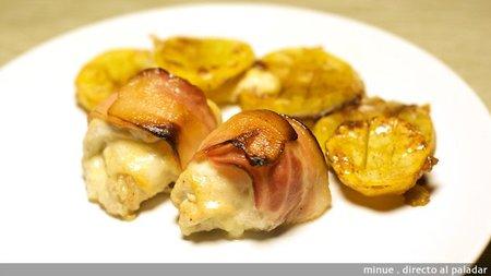 Rollitos de pechuga con salsa Perrins