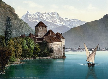Chillon Castle And Dent Du Midi Lake Geneva
