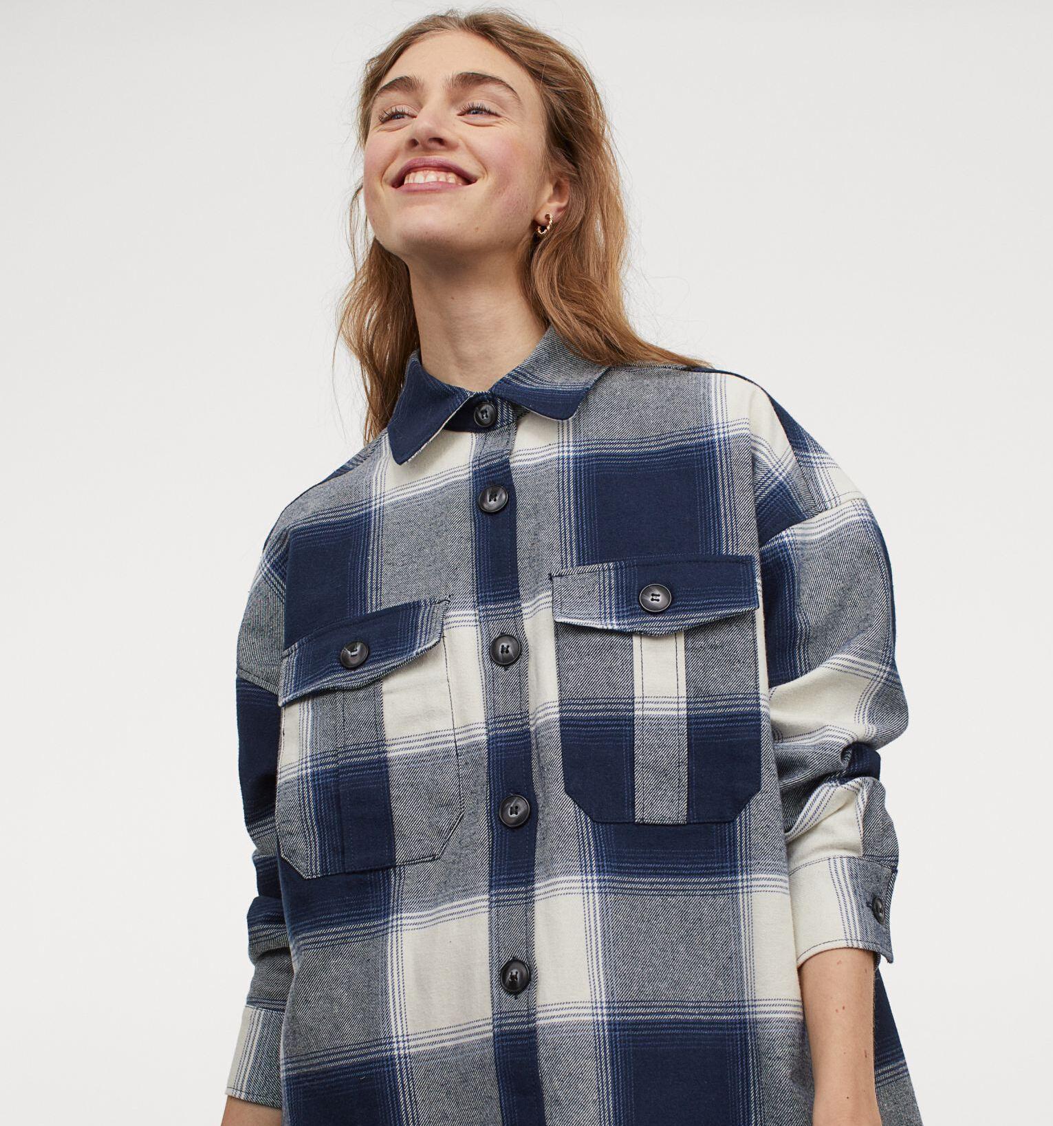Camisa en franela de algodón en azul marino
