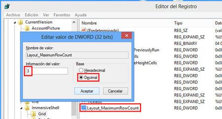 Cambiar número de filas de tiles en el registro de Windows