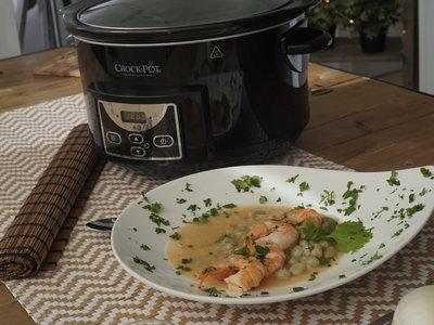 Receta de verdinas con langostinos en Crock-Pot