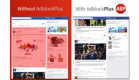 Facebook con y sin AdBlock Plus