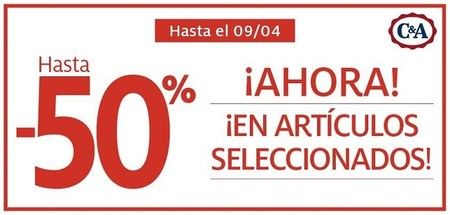 Descuentos de hasta el 50 % en una selección de artículos de C&A, hasta el 9 de abril
