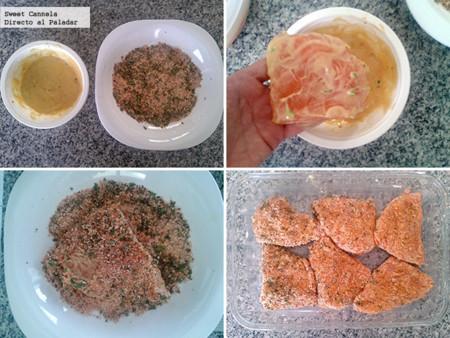 Preparación pollo empanizado horneado