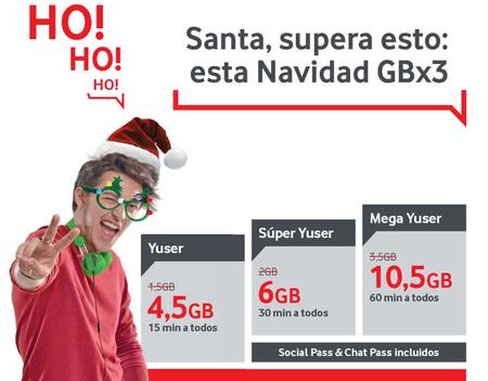 Vodafone triplica los gigas de sus prepago durante la navidad