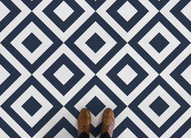 Argyle Diamond Pattern Flooring Blue Feet 2